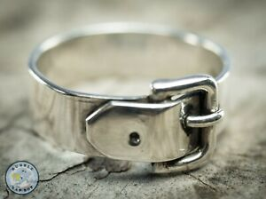 MENS VINTAGE STERLING SILVER BUCKLE RING SIZE W