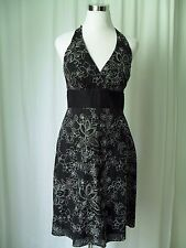 White House Black Market Halter Dress Size 6 Black with White Floral Embroidery
