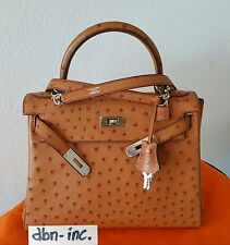Auth Hermes 28 cm kelly ostrich palladium hardware-authenticated letter