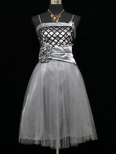 Cherlone Grey Prom Party Ball Evening Bridesmaid Formal Knee Length Dress 12