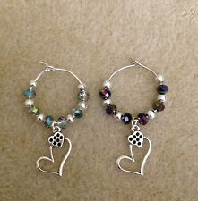 his and her heart toasting champagne/wine glass charms all colors available