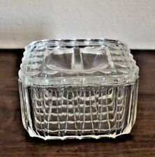 Vintage Candy Dish with lid Square Checker Pattern Clear Glass