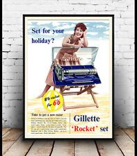 Gillette Rocket Set Vintage afeitado Razor Anuncio Cartel reproducción.