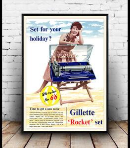 Gillette rocket set  Vintage  Shaving razor advert poster reproduction.
