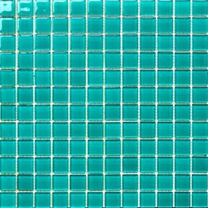 1x1 Turquoise Green Pool Glass Mosaic Tile