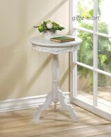 small WHITE distressed Round french Shabby baroque bedside pedestal End Table