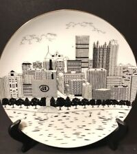 Vtg Pittsburgh PA Downtown Skyline Plate The Point PPG USX Hilton Line Drawing