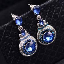 LK_ Luxury Round Pendant Rhinestone Ear Studs Earrings Women Party Jewelry Adv