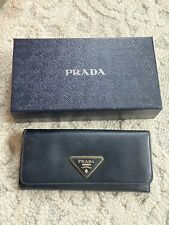 Prada Black Saffiano Metal Leather Continental Flap Wallet Vintage