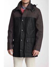 Men's Vince Camuto Black Grey Mixed Media Tweed Anorak Coat $495