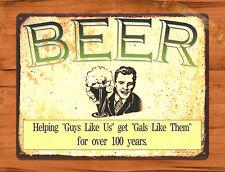 """TIN SIGN """"Beer Guys"""" Humor Bar Wall Decor Comedy Vintage Alcohol Me Too"""
