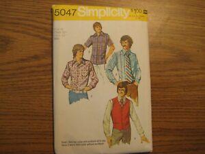 5047 Dress Shirt Vest Simplicity Sewing Pattern Mens Sz 42 C42 N16