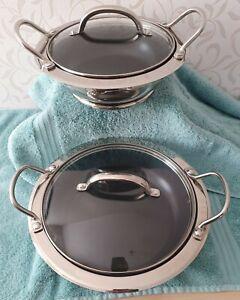 2 Cooks Essentials Buffet Pans / Stock Pots with Glass Lids & Metallic Trivets