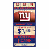 New York Giants Old Game Ticket Holzschild 30 cm NFL Football Wood Sign
