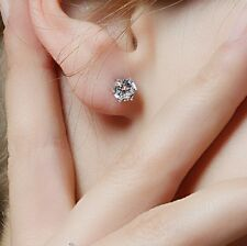 CUTE SILVER PLATED  STUD EARRINGS MADE WITH CLEAR SWAROVSKI CRYSTALS UNISEX GIFT