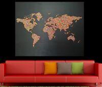 XL 3-D Acryl Kunst Weltkarte handgemalt Leinwand Bild ART GEMÄLDE Unikat bunt