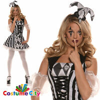 Adult Womens Trixie Evil Harlequin Jester Halloween Fancy Dress Party Costume