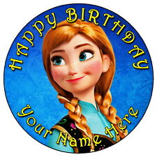 "FROZEN ANNA - 7.5"" PERSONALISED ROUND EDIBLE ICING CAKE TOPPER"