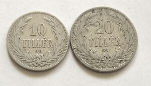 y127 HUNGARY 10 FILLER 1895 & 20 FILLER 1894 COINS