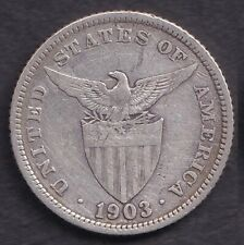 1903 US Administration Philippines Twenty 20 CENTAVOS Silver Coin - Stock #2