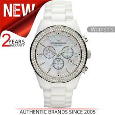 Emporio Armani Ceramic Ladies Watch AR1456│Chronograph MOP Dial│Ceramic Strap