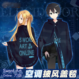 Anime Sword Art Online Kirito Cosplay Cloak Soft Plush Warm Blanket Harajuku