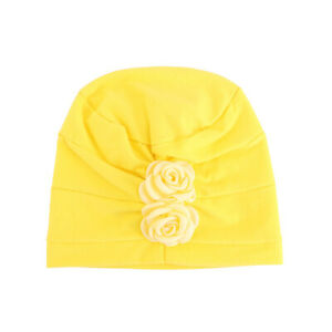 Baby Hat Solid Hijab Head Scarf with Flower Out School for Children Aged 2-8