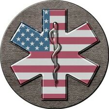 "Star of Life US Flag 12"" Round Metal Sign Emergency Medical Services EMS Decor"