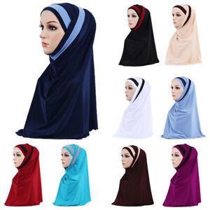 2 Piece Muslim Islamic Women Headscarf Shawl Hijab Instant Bonnet Hat Amira Wrap