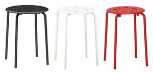 Ikea Marius Stackable Stool Breakfast Bar Dining Stool Modern,Red,White & Black