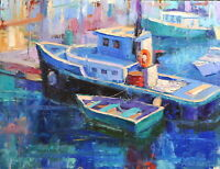 Boats painting original oil on canvas board impressionism art by Emiliya Lane