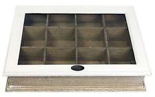 SHABBY Chic in Legno Bianco Due Toni 12 sezione compartimento Storage Box con coperchio