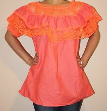 CORAL GYPSY PEASANT MEXICAN LACE OFF SHOULDER BLOUSE SMALL TO MEDIUM