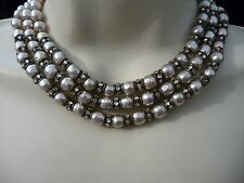 #618 vtg costume necklace Miriam Haskell 3 Stands Baroque Pearls w Rhinestones