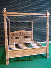 Teck Super King reproduction Naturel Rustique Four Poster Queen Anne Canopy bed