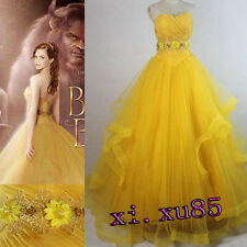 2017 Newest Beauty And The Beast Princess Belle Dress Cosplay Costume Any Size