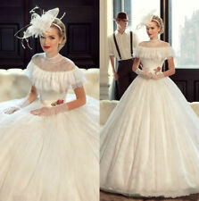 Vintage Princess Victorian High Neck Lace Wedding Dress Cap Sleeves Bridal Gowns