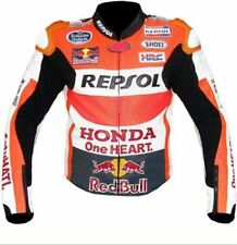 New Mens Multicolor Racing Motorcycle Cowhide Leather Jacket For Honda Repsol