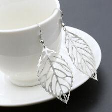 Big Silver Leaf Leave Long Metal Hollow Filigree Dangle Earrings Fashion Jewelry