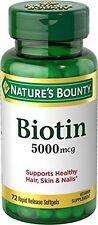 6 Pack - Natures Bounty Biotin 5000 mcg Liquid Softgels 72 Soft Gels Each