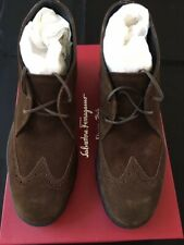 New in Box Salvatore Ferragamo Parker Men's Brown Suede Lace Up Ankle Boots 8EE