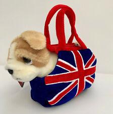 BRITISH BULLDOG STUFFED ANIMAL IN DOG CARRIER BAG BRITISH UNION JACK FLAG, NEW