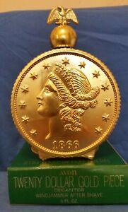 Avon 1866 Twenty Dollar Gold Piece Empty Windjammer After Shave Decanter 6 oz