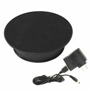 Anti-slip 8'' 360° Black Rotating Turntable Display Stand Power By AC & Battery