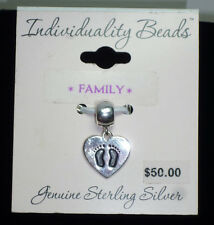 Individuality Beads Family Heart Baby Feet Genuine Sterling Silver 925 Charm NEW