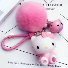 New Cute Hello Kitty Car Key Chains (key ring) c/w Bells Pink Plush Ball Pendant