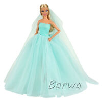 Barwa Barbie Blue Luxury Tube Top Wedding Dress + Veil for your baby