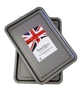 Oven Baking Trays 2 PCS High Quality Non Stick Cookies Cake Veggies Cooking UK
