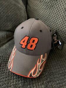 Jimmie Johnson #48 NASCAR TrueTimber Camo Neon Orange Gray Hat Cap New With Tags