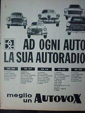 ADVERTISING PUBBLICITA'  AUTOVOX autoradio a transistor - ALFA LANCIA   -  1961
